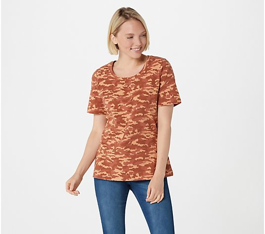 Denim & Co. Active Camo Print Short Sleeve Scoop Neck Top
