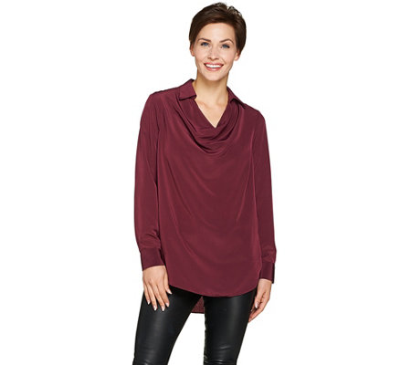 """As Is"" Lisa Rinna Collection Collared Cowl Neck Blouse"