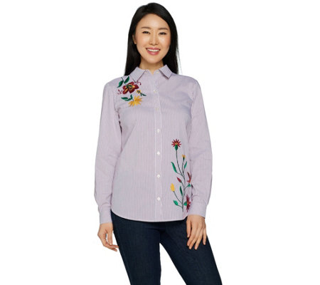 Susan Graver Striped Cotton Poplin Embroidered Shirt