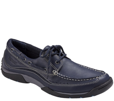 """As Is"" Vionic Men's Leather Boat Shoes - Eddy"