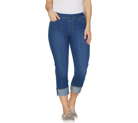 Susan Graver Stretch Denim Pull-On Cuffed Crop Pants - Regular