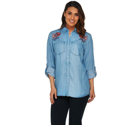 """As Is"" C. Wonder Chambray ""Carrie"" Blouse with Embroidery"