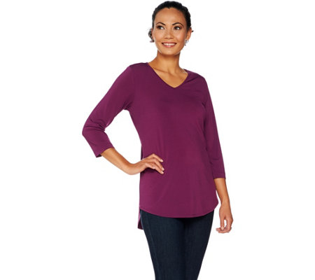 """As Is"" Joan Rivers Jersey Knit 3/4 Sleeve Top with Shirt Tail Hem"