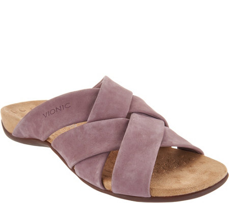 Vionic Juno Suede Cross Banded Sandals