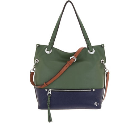 orYANY Lamb & Pebble Leather Convertible Satchel - Sofia