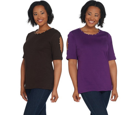 Quacker Factory Set of Two Knit T-Shirts w Faux Pearl Detail