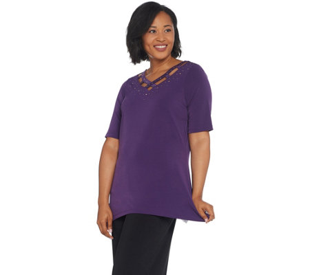 Quacker Factory Sparkle V-Neck Trapeze Hem Elbow-Sleeve Knit Tunic