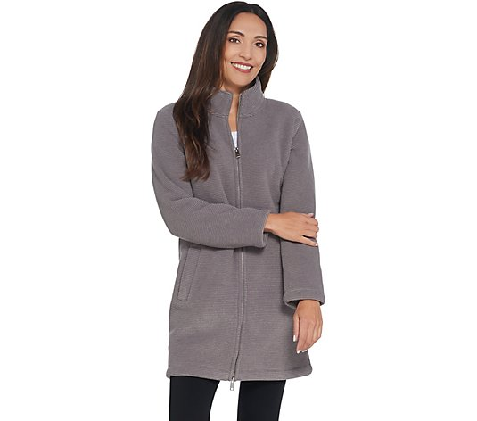 Denim & Co. Regular Chenille Fleece Sherpa Long Sleeve Coat