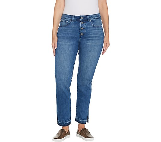 Vince Camuto Button Front High-Rise Split Leg Ankle Jean - Ocean Breeze