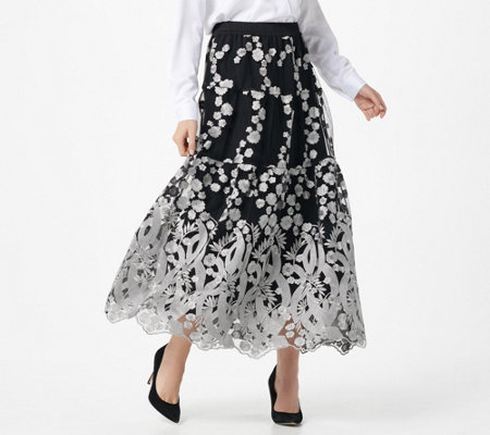 Linea by Louis Dell'Olio Petite Embroidered Skirt