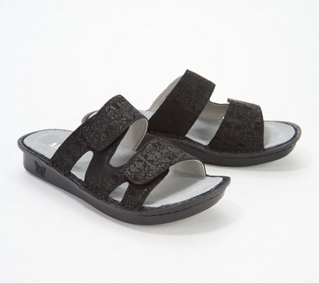 Alegria Leather Adjustable Slide Sandals - Stella