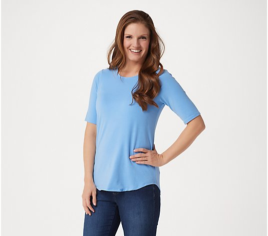 Elizabeth & Clarke Elbow-Sleeve Knit Top with StainTech