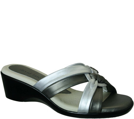 David Tate Leather Slide Sandals - Verona