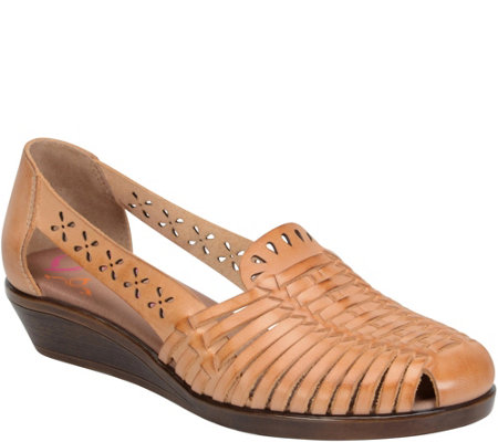 Comfortiva Laser Cut Leather Sandals -Fairfax