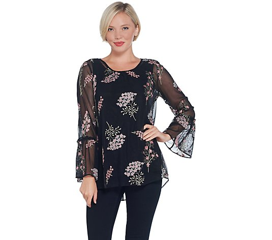 """As Is"" Dennis Basso Embroidered Mesh Blouse with Tank"
