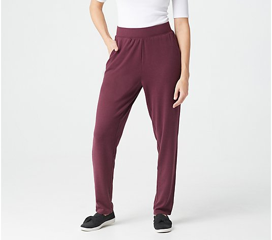 Denim & Co. Active Petite Heavenly Jersey Straight Leg Pants