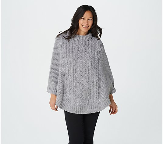 Aran Craft Merino Wool Cowl Neck Poncho