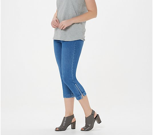 Belle By Kim Gravel Flexibelle Mini Cuff Capri Jean w/ Zipper Trim