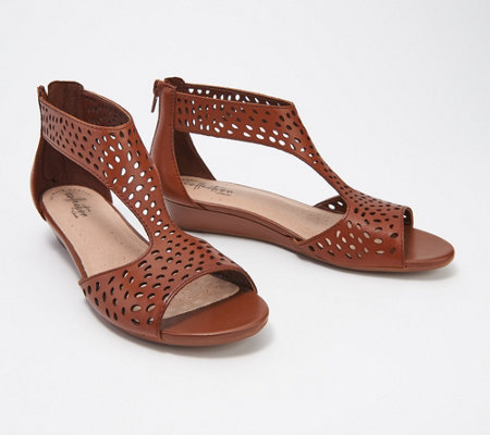 """As Is"" Clarks Collection Perforated Leather Wedges- Abigail Ruby"