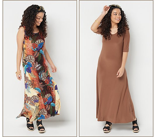 """As Is"" Attitudes by Renee Petite 2 Print & Solid Maxi Dresses"