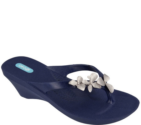 Oka B Orchid Flower Wedge Sandals - Myrtle
