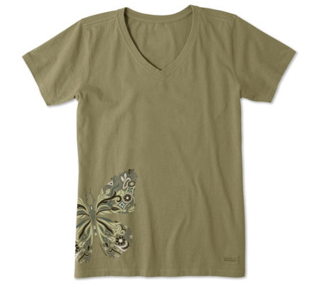 Life Is Good Wildflower Butterfly Crusher V Neck Shirt