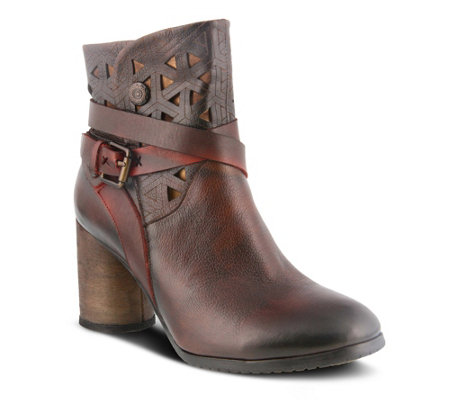 L'Artiste Leather Cross Over Strap Booties - Madonna
