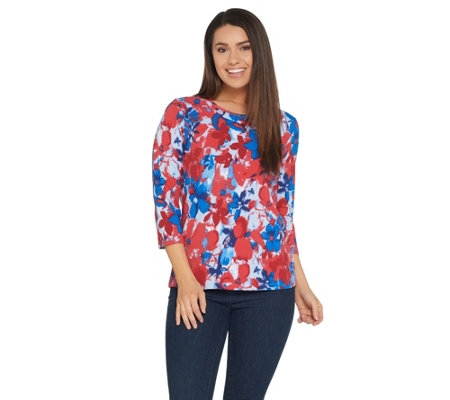 Denim & Co. Perfect Jersey 3/4 Sleeve Watercolor Print Top