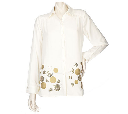 Susan Graver Cool Peach Button Front Blouse with Circle Motif
