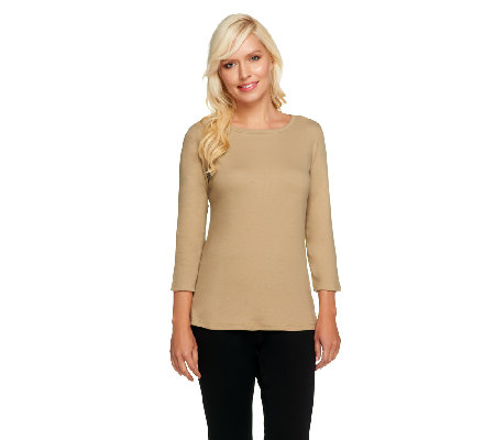Liz Claiborne New York Essentials 3/4 Sleeve Ribbed T-Shirt