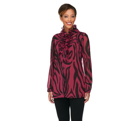 Dennis Basso Abstract Print Chiffon Tunic with Ruffle Placket & Cami