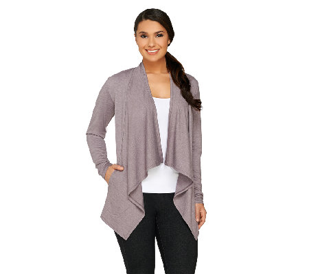 LOGO Lounge by Lori Goldstein French Terry Open Front Cardigan