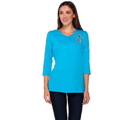 Quacker Factory Rhinestone Brooch Holiday 3/4 Sleeve T-shirt