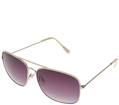 H by Halston Square Metal Framed Aviator Sunglasses