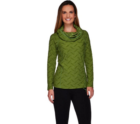 """As Is"" LOGO Lotus by Lori Goldstein Cowl Neck Jacquard Top; Solid Trim"