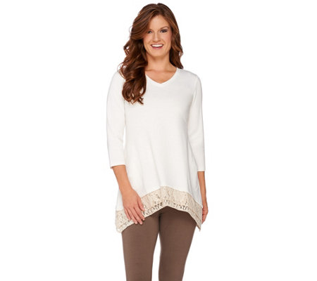 """As Is"" LOGO Lounge by Lori Goldstein French Terry Top w Lace Trim"