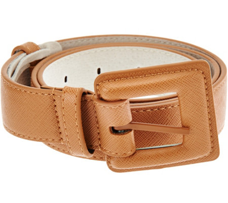 Isaac Mizrahi Live! Leather Lined Belt with Covered Buckle