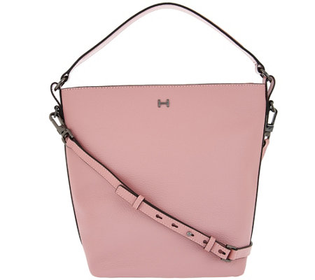 """As Is"" H by Halston Pebble Leather Crossbody Bucket Handbag"