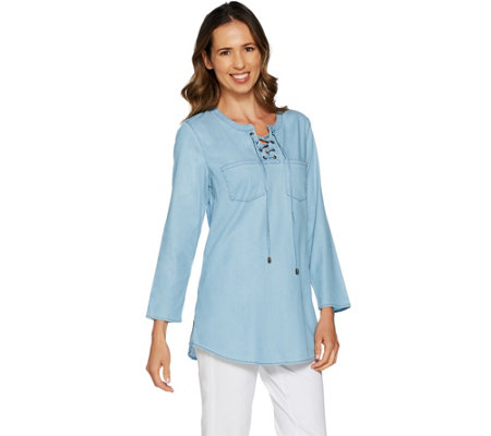 Belle by Kim Gravel Stretch Lace-Up Lyocell Shirt w/ Bell Sleeves