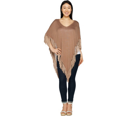 Attitudes by Renee Sweater Poncho with Fringe Detail