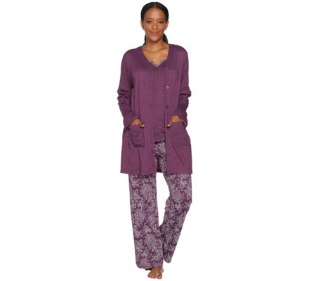 Carole Hochman Tall Floral Paisley Interlock 3 Pc Lounge Set