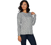 Lisa Rinna Collection Heathered Dolman Long Sleeve Tee - A294465