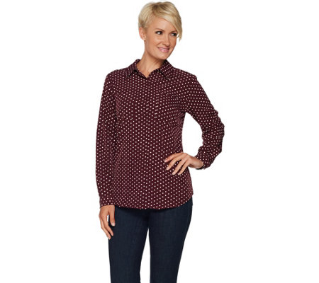 Susan Graver Polka Dot Stretch Woven Button Front Shirt