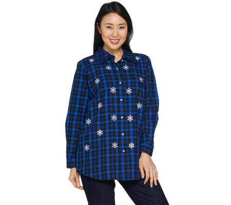 Quacker Factory Button Front Plaid Tunic with Embellishment