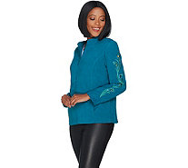 Bob Mackie's Faux Suede Jacket with Rhinestone and Embroidery - A298765