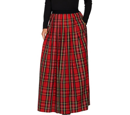 Joan Rivers Regular Length Holiday Plaid Maxi Skirt