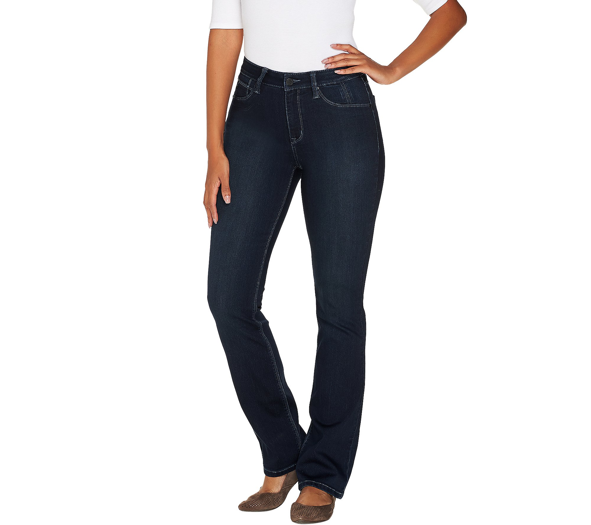 Laurie Felt Petite Silky Denim Baby Bell Jeans Fly Dark Wash PS NEW A301665