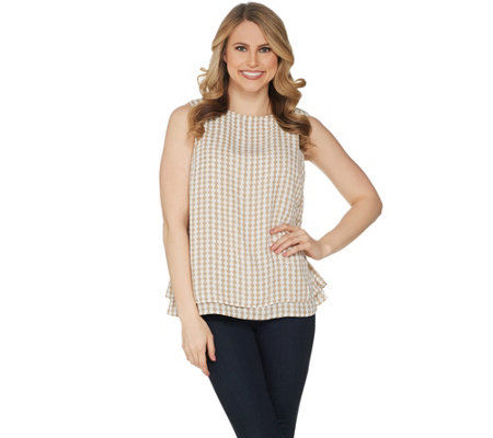 Joan Rivers Double Layer Printed Soft Crepe Tank