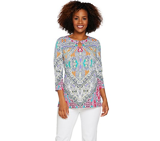 """As Is"" Susan Graver Artisan Printed Liquid Knit Tunic"