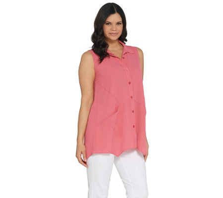 Joan Rivers Sleeveless Textured Crepe Button Front Shirt